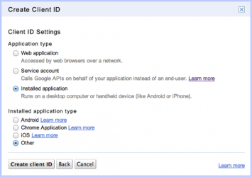 Select the OAuth Client application type